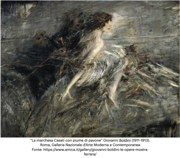 La marchesa Casati con piume di pavone. Giovanni Boldini (1911-1913). Roma, Galleria Nazionale d'Arte Moderna e Contemporanea