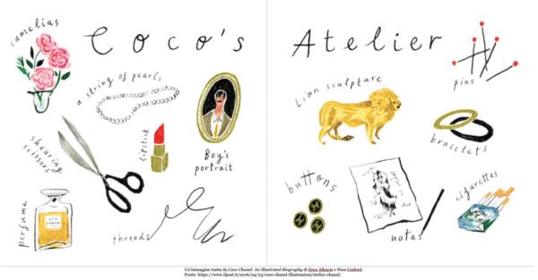 Un'immagine tratta da Coco Chanel: An Illustrated Biography di Zena Alkayat e Nina Cosford. Fonte: https://www.ilpost.it/2016/04/23/coco-chanel-illustrazioni/atelier-chanel/